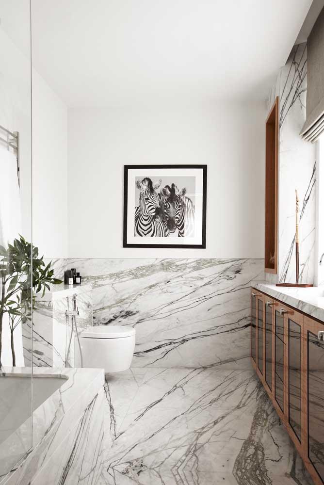 Piso para banheiro de mármore branco