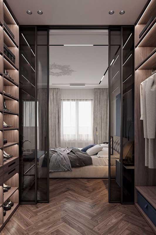 Quarto de casal de luxo com closet: conforto e praticidade no mesmo projeto