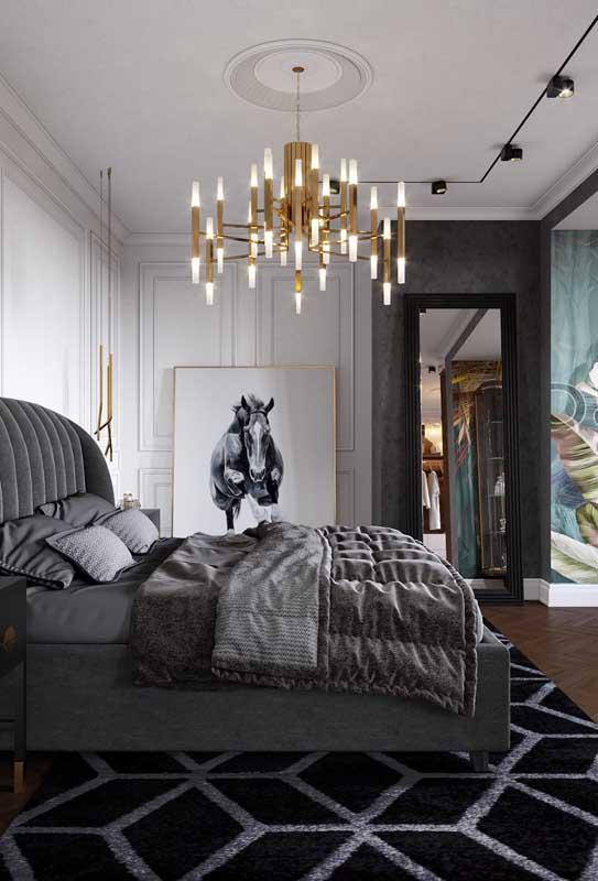 Um pouco de dourado para acender o glamour do quarto de luxo