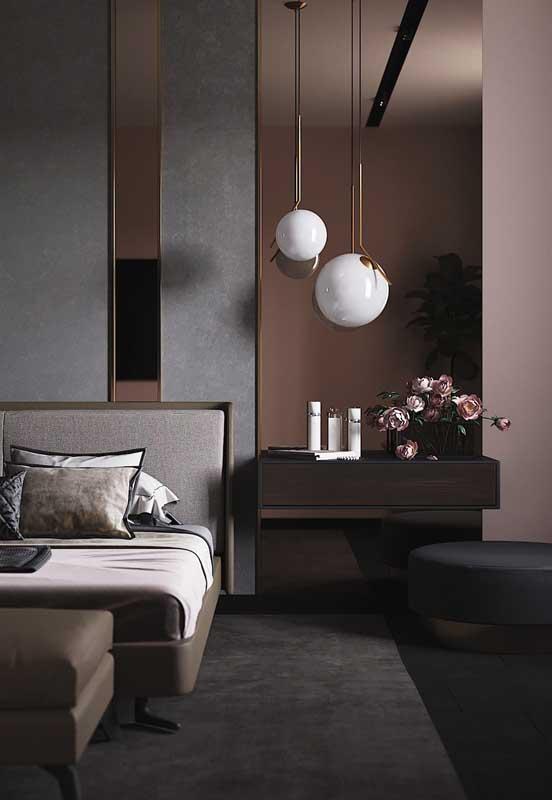 O preto traz sofisticação, enquanto o rosa aquece e acende o ambiente