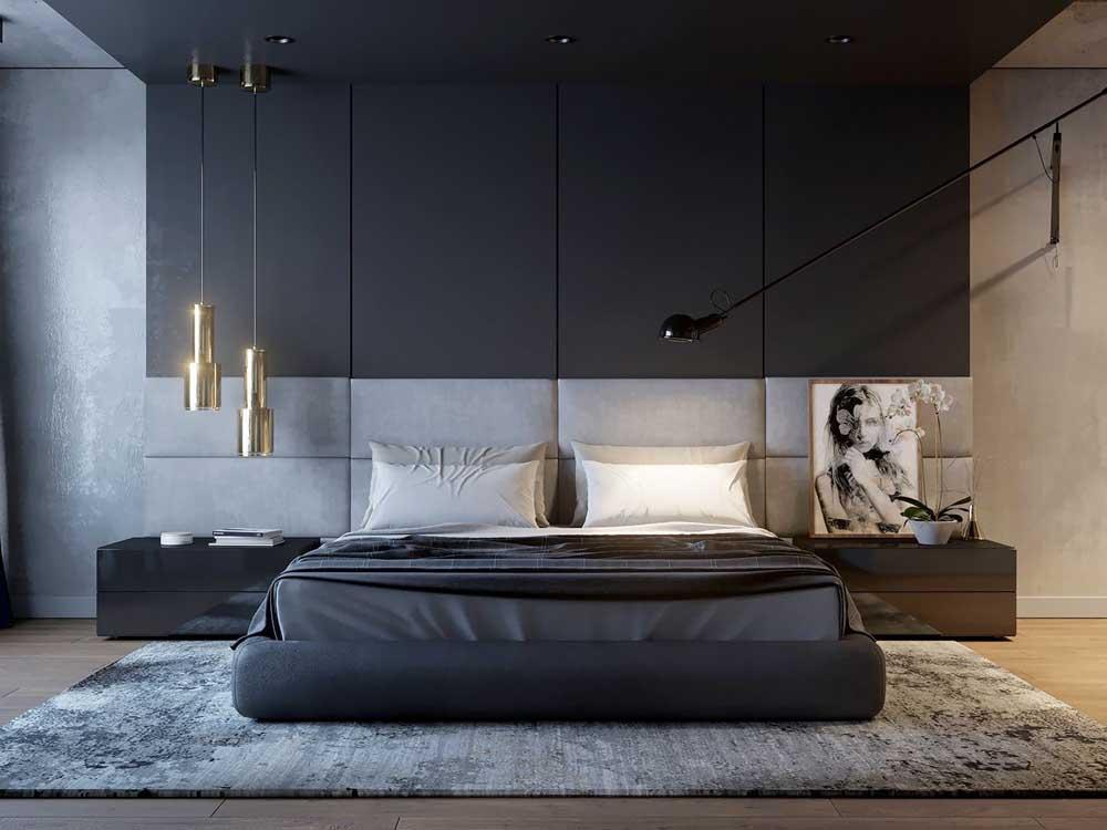 Quarto de luxo em preto e cinza: pura sofisticação
