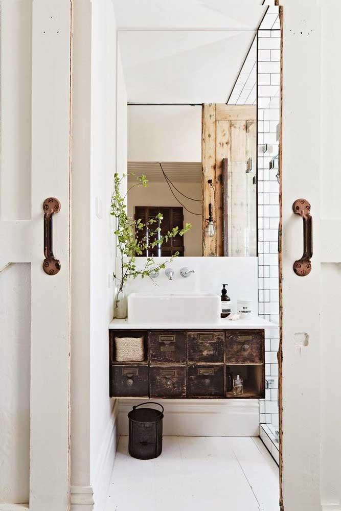 Banheiro rústico nos detalhes