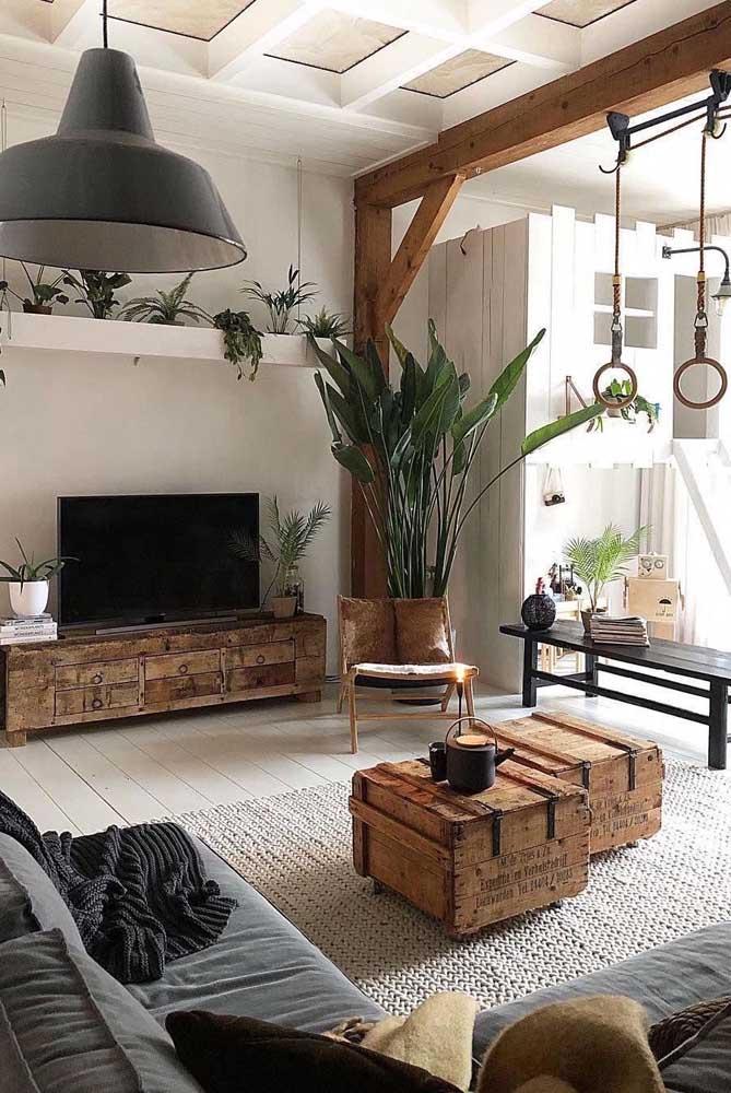 Sala rústica, moderna e aconchegante