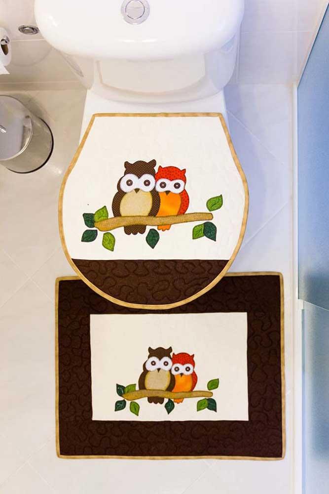 Jogo de banheiro de coruja duas peças pintado à mão com bordas em tecido
