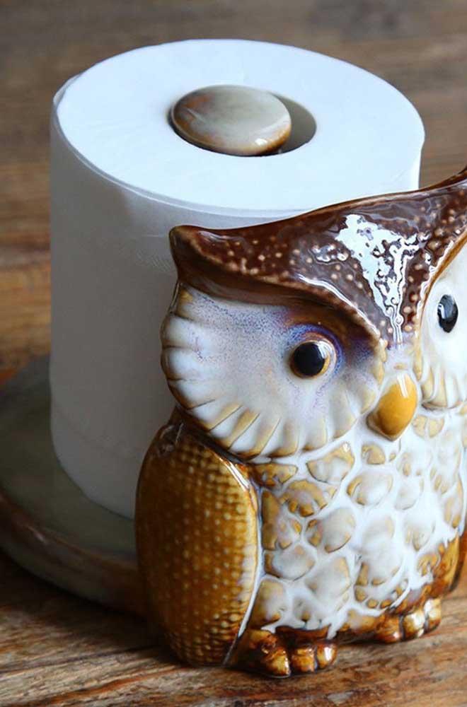 Corujinha de cerâmica para o papel higiênico