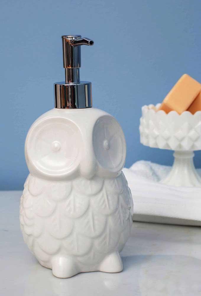 Saboneteira de coruja feita em cerâmica