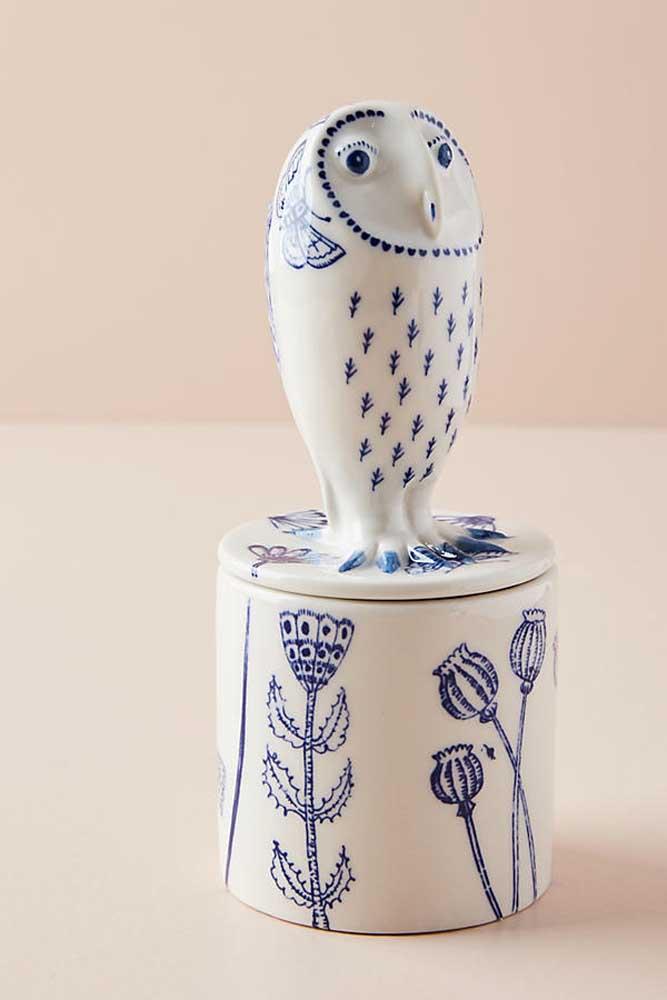 Porta treco de cerâmica com formato de coruja. Decoração com funcionalidade