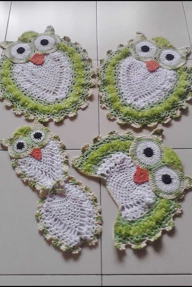 Jogo de banheiro de coruja verde e branco