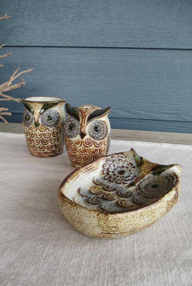 Corujinhas de cerâmica para trazer personalidade e estilo para o banheiro