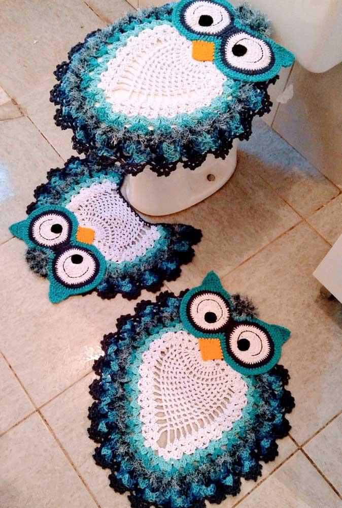 Jogo de banheiro de coruja em azul, branco e preto