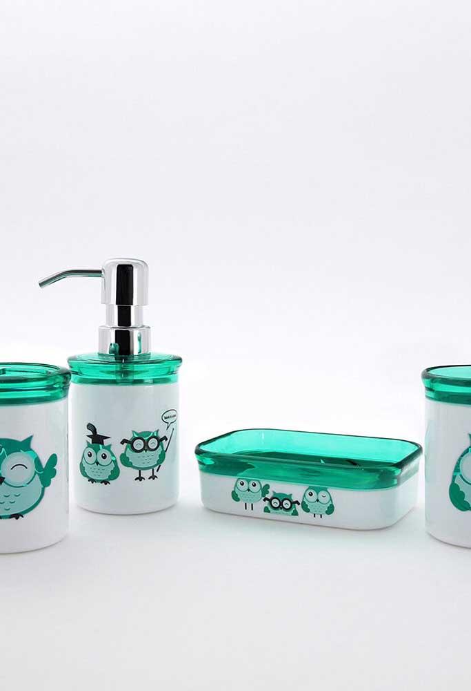 Kit de banheiro de corujas em branco e verde
