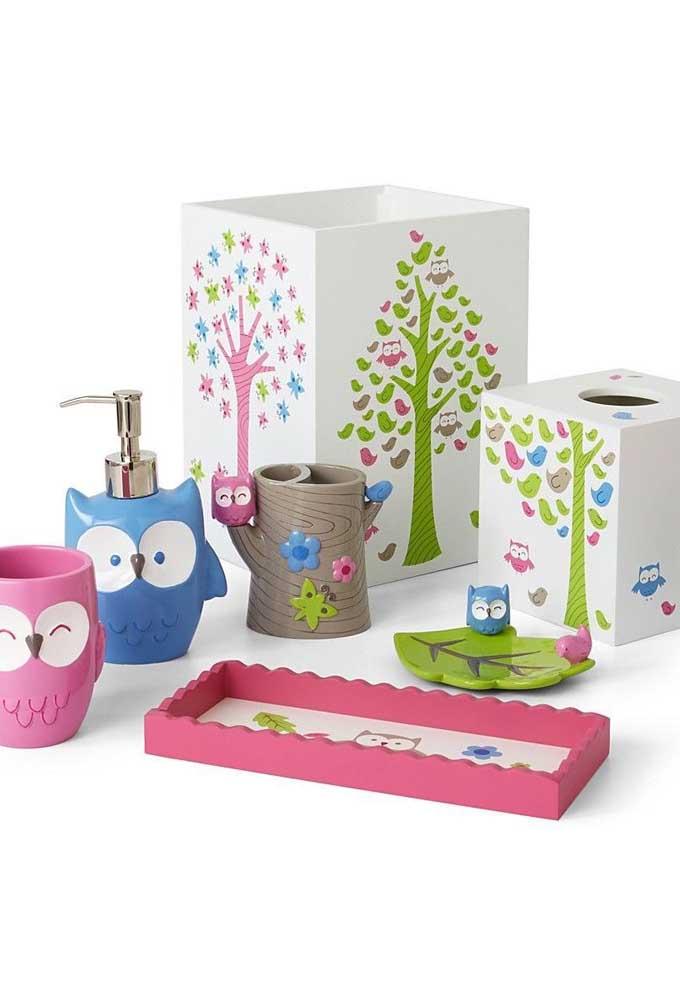Kit de banheiro de corujas coloridas