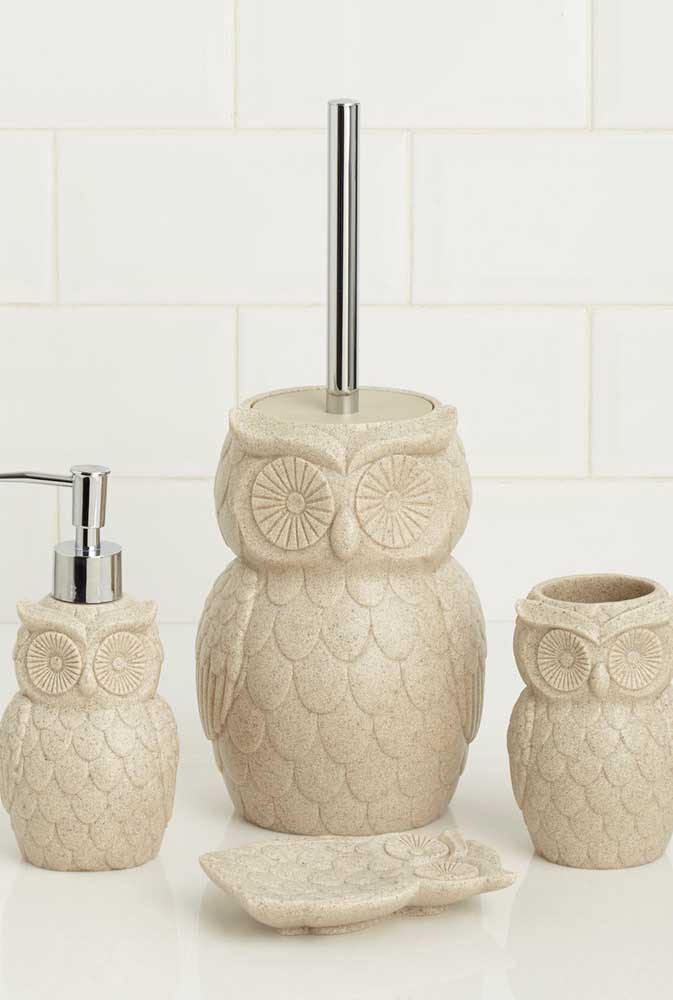 Jogo de banheiro de coruja completo para o banheiro: porta escovas, saboneteira e escova de limpeza