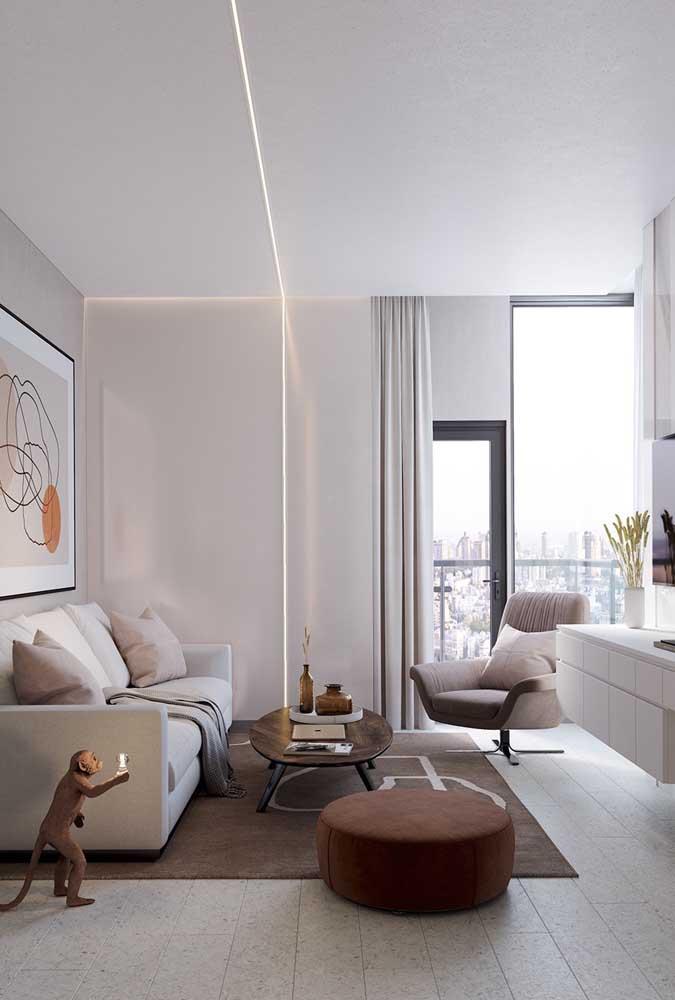 Luminária na sanca de gesso: outra forma muito popular de iluminar a sala de estar