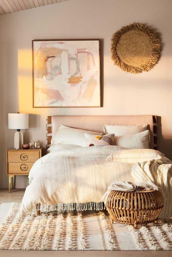 Quadro para quarto de casal com tema abstrato seguindo a paleta de cores do ambiente