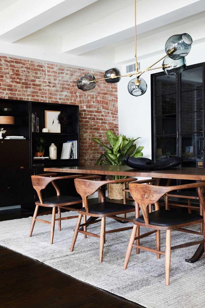 Parede de tijolinhos: rusticidade na medida para sala de jantar