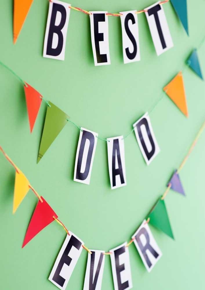 Mural de papel perfeito para uma decoração simples para o dia dos pais