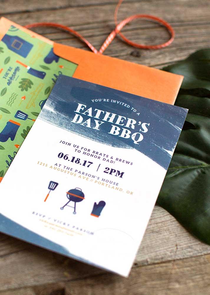 Convite para o dia dos pais: o design do convite já entrega o cardápio
