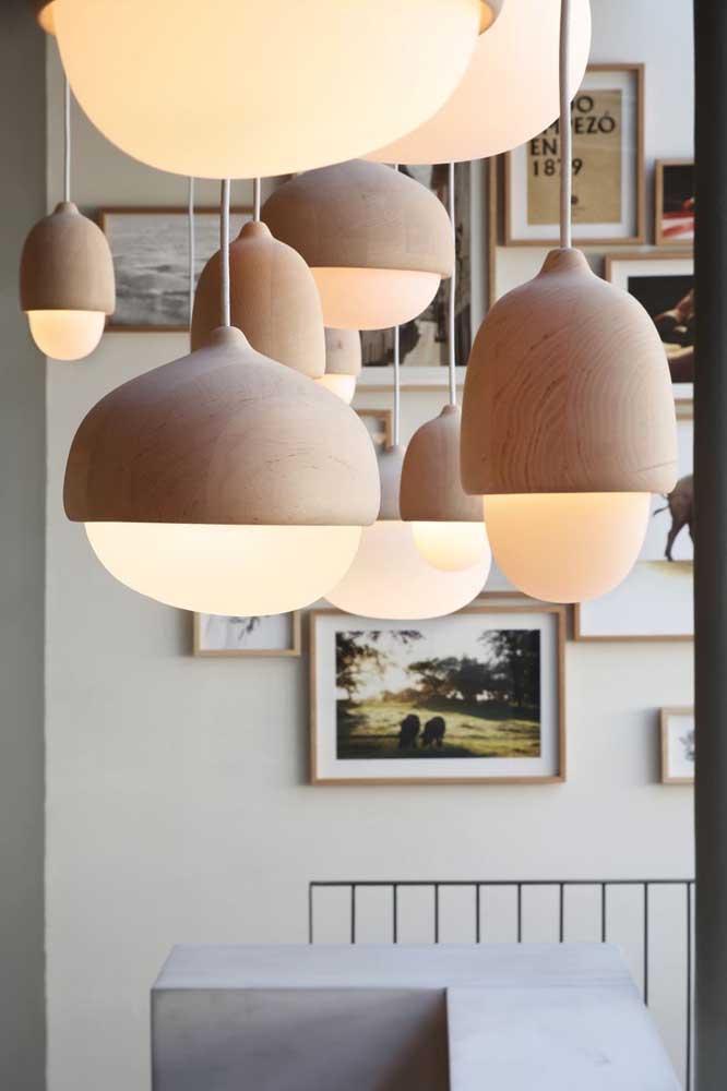 Luminárias de madeira! Lindas por natureza