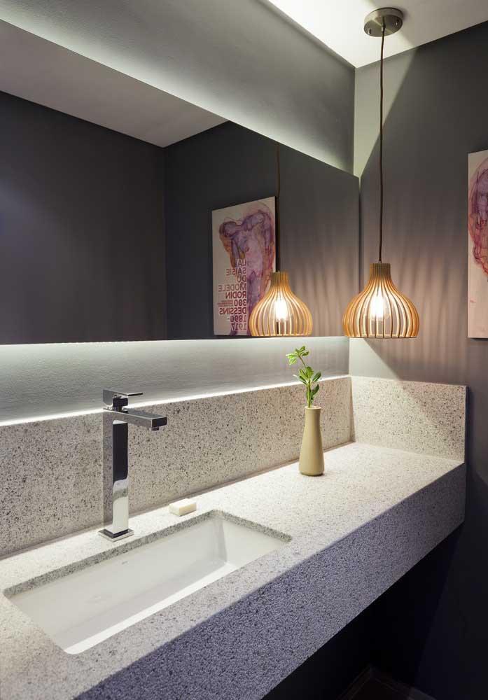 Todo o charme da luminária pendente para lavabo