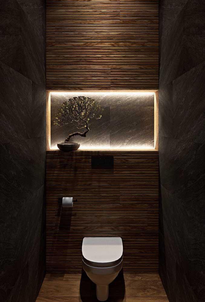 Nada como uma luz especial para valorizar o nicho do banheiro