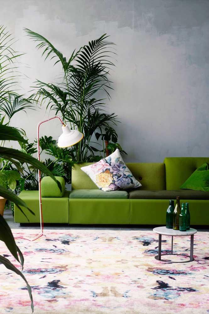 Uma sala e vários tons de verde