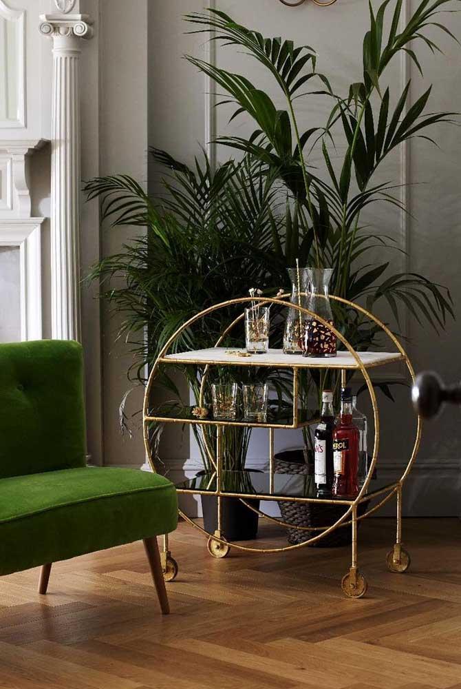 Um pouco de verde para quebrar o ar clássico da sala