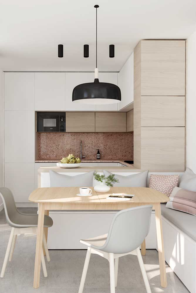 Móveis planejados para melhor aproveitamento do espaço da cozinha integrada