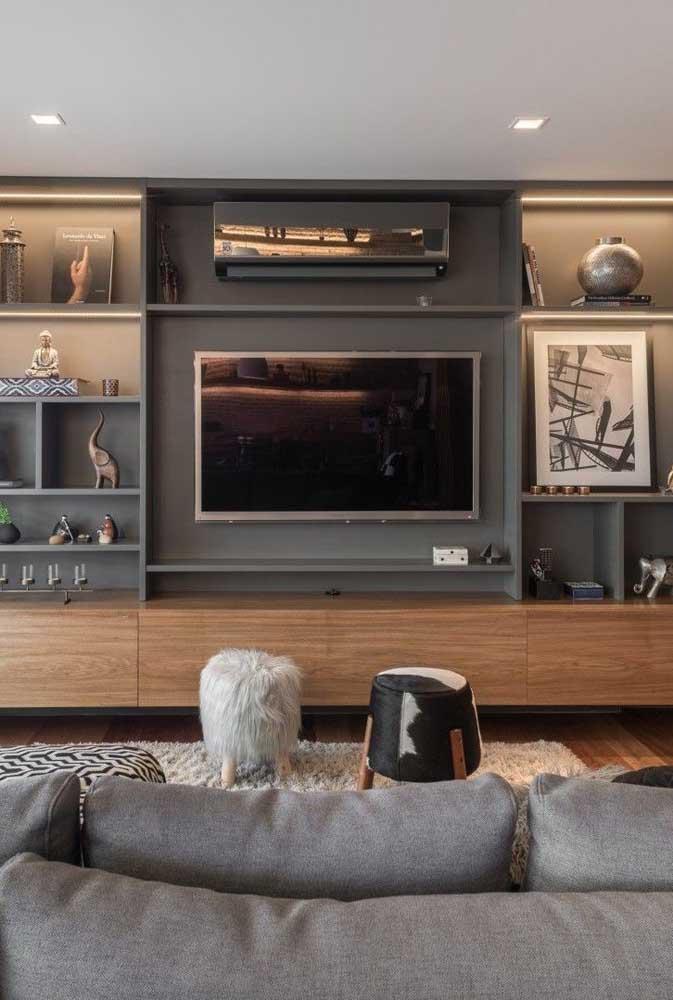 Painel de TV com nichos: solução funcional e decorativa para sala de estar