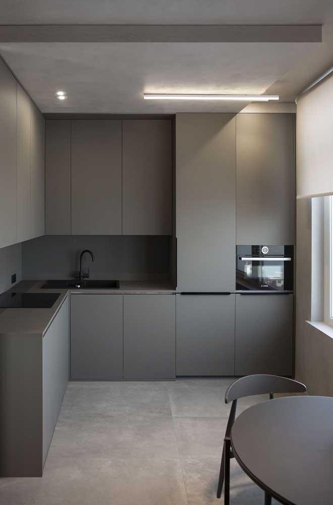 Uma cozinha cinzenta