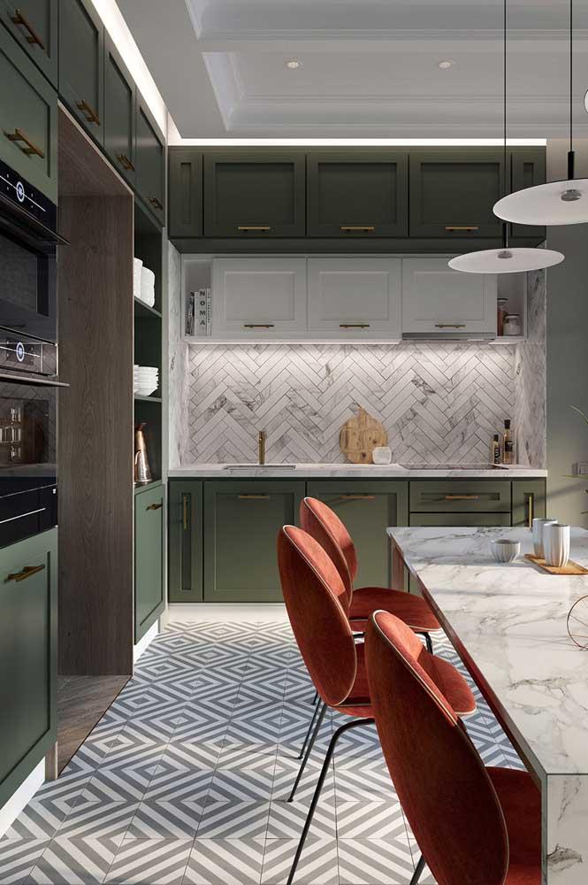 Piso cerâmico para cozinha em formato geométrico moderno