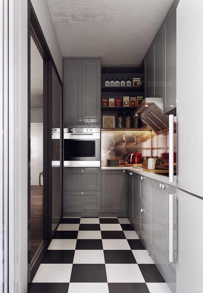 Piso vinilico para cozinha em padrão geométrico preto e branco