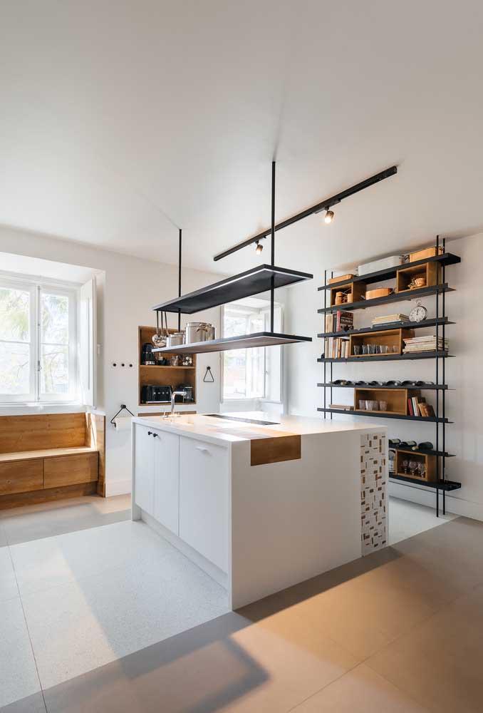 Piso porcelanato branco para cozinha: acabamento clean e uniforme