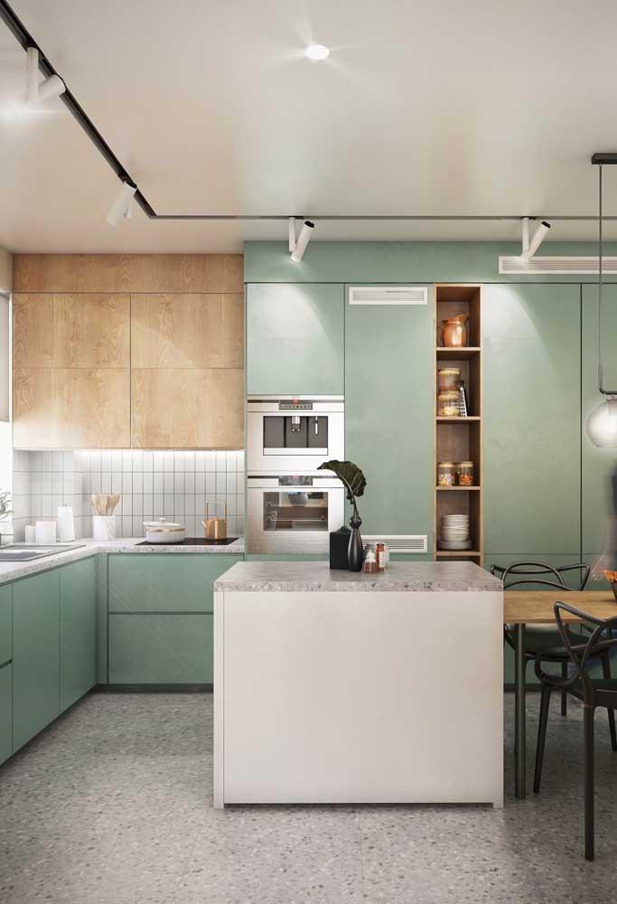 Piso de granito para a cozinha de armários verdes