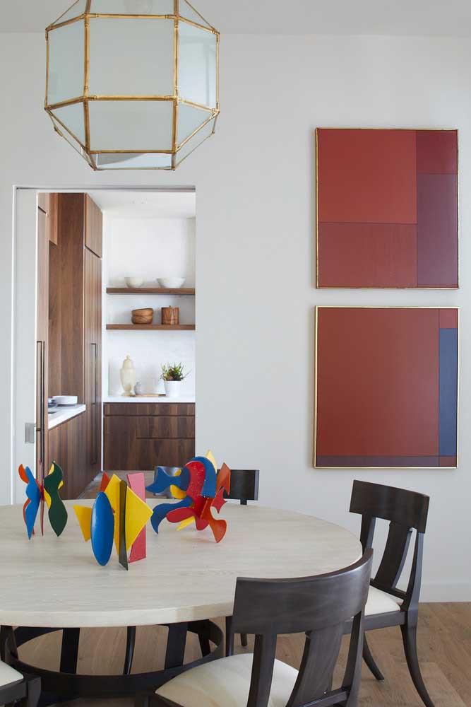Quadro abstrato para sala de jantar seguindo a paleta de cores do ambiente