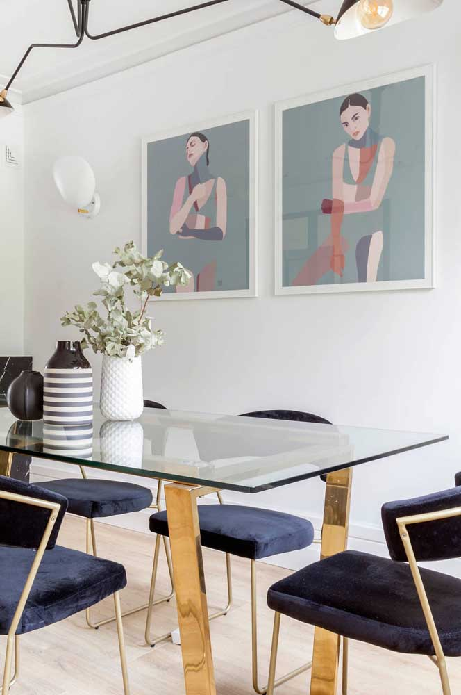 Conjunto de obras para a sala de jantar moderna
