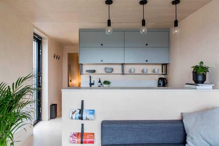 Armário de cozinha cinza combinando com o sofá da mesma cor