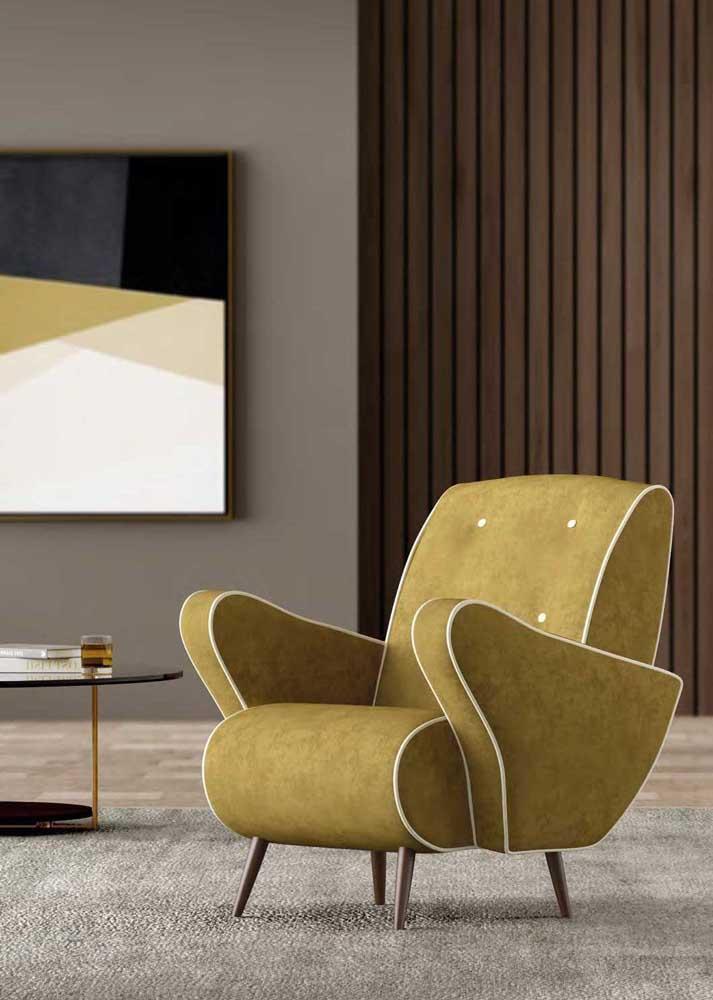 Poltrona decorativa com influência retrô, mas com um toque contemporâneo incrível!