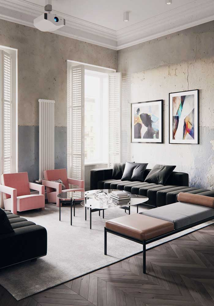 Poltronas, pufes e sofás. Nessa sala o que não falta é conforto!