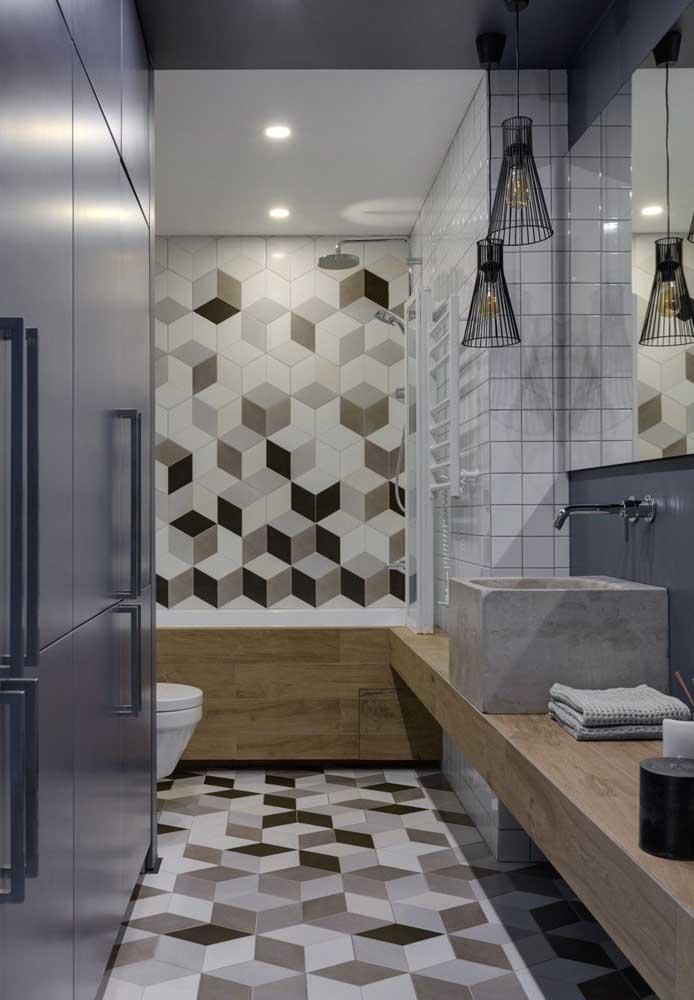 Banheiro moderno com revestimento hexagonal no piso e nas paredes