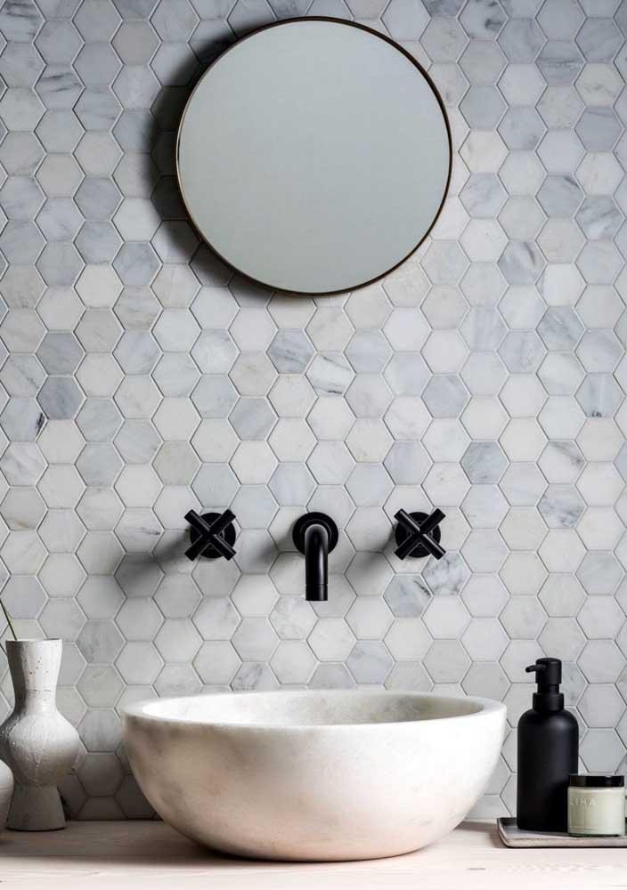Pastilhas hexagonais com textura de pedra
