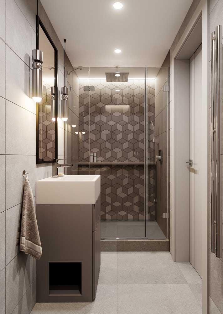 Banheiro com porcelanato dentro e fora do box