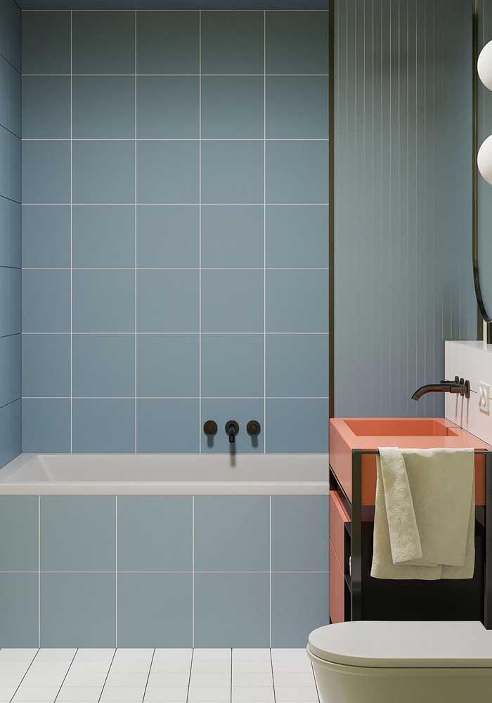 Azulejos azul bebê para o banheiro. Um mimo só!