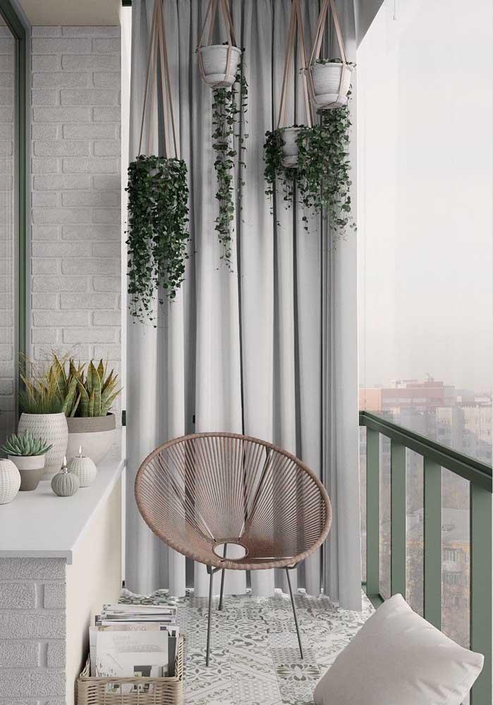 Cortina de sarja cinza para a varanda