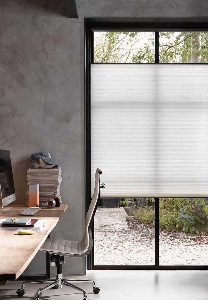 A cortina duofold é perfeita para home offices e escritórios