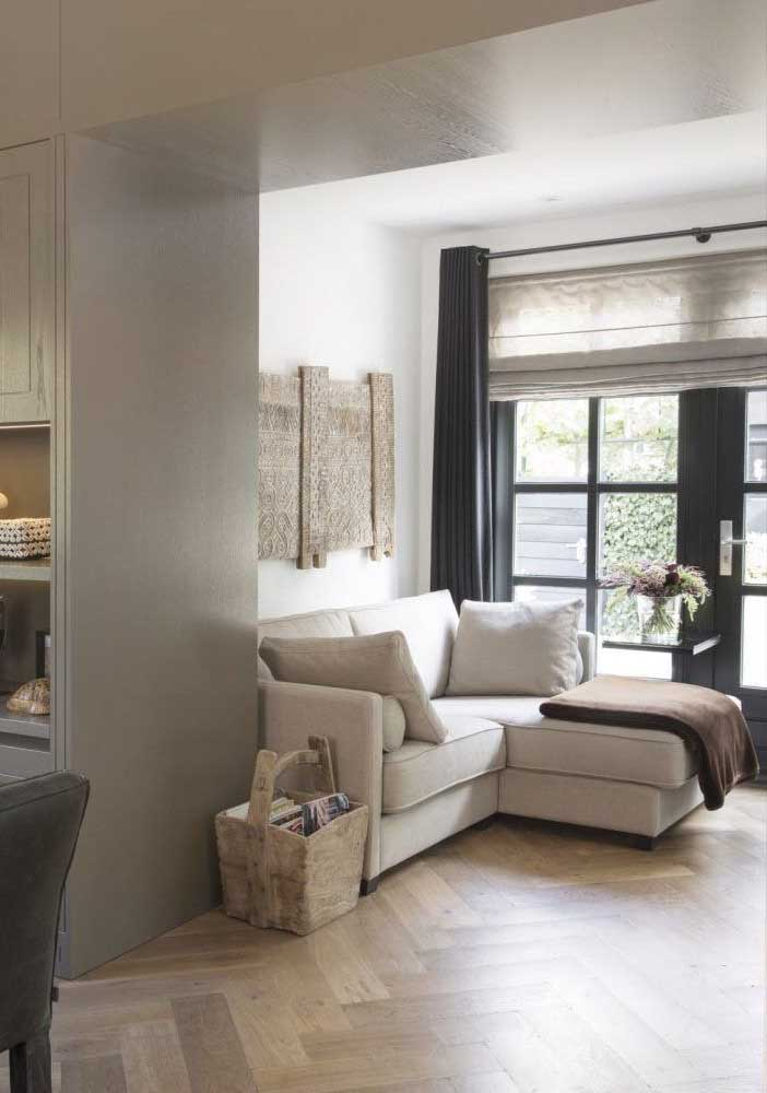 Cortina blackout para sala de estar combinada com a leveza do voil