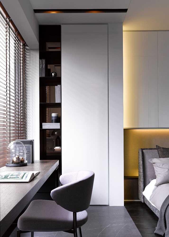 Persiana para ressaltar o visual moderno do quarto
