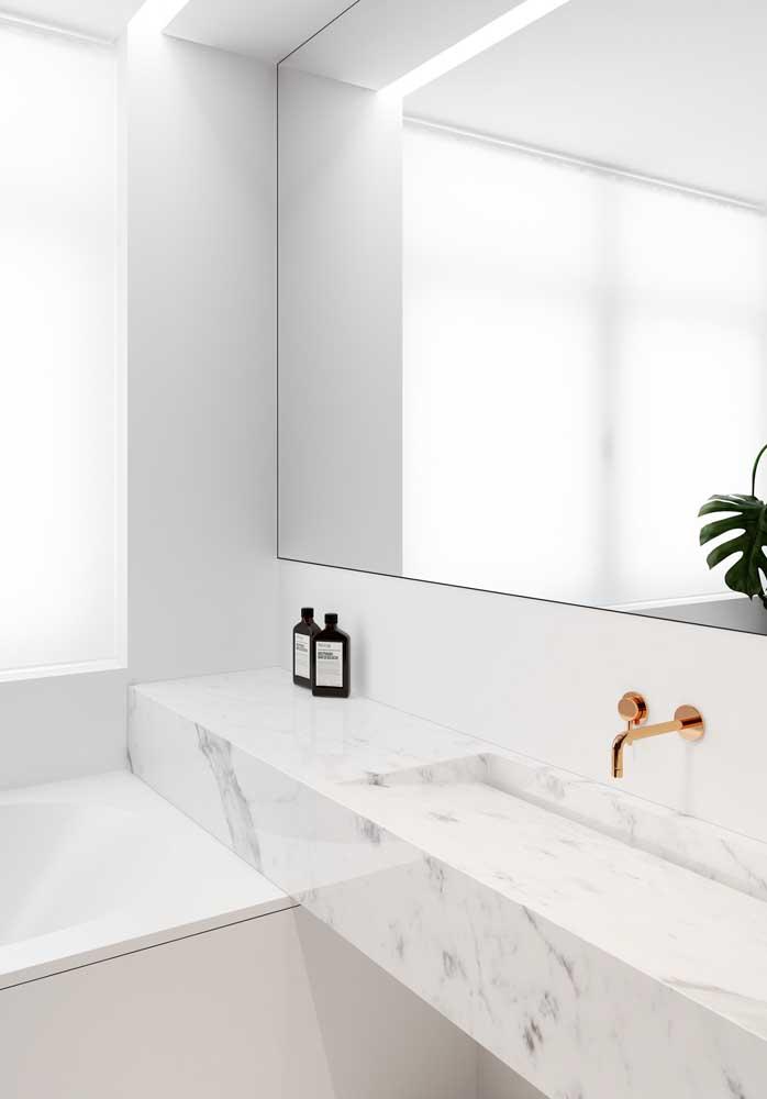 Mármore piguês para um banheiro super clean