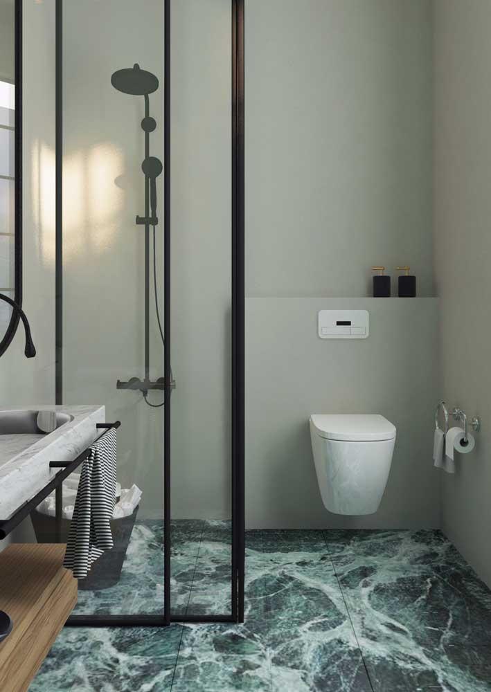 Mármore verde para o piso do banheiro