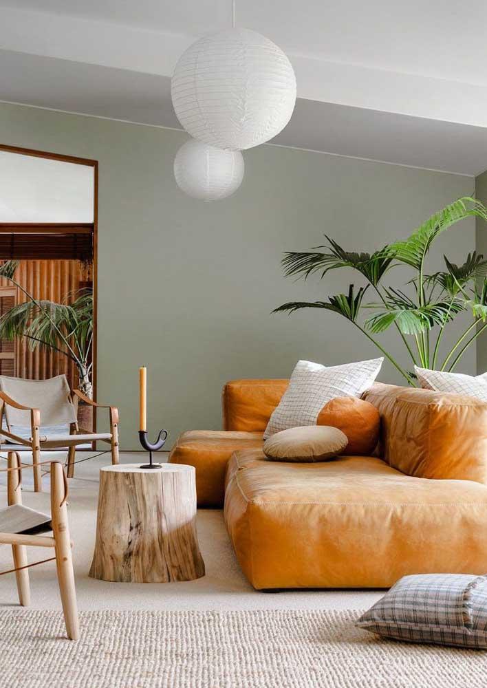 Plantas e sofá caramelo: uma combinação linda!